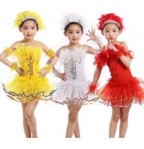 Yellow gold red white sequined feather girls kids children toddlers kindergarten cos play modern dance school play jazz dance performance outfits dresses