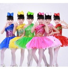 Yellow gold royal blue green fuchsia hot pink light pink girls kids children sequined one shoulder school play jazz dance dresses outfits