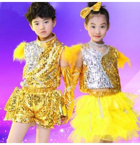 Yellow gold sequined girls boys performance school play modern dance stage jazz dance costumes outfits