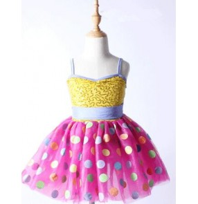 Yellow gold sequins pink polka dot patchwork strap backless girls kids children leotard modern dance tutu ballet dance dresses