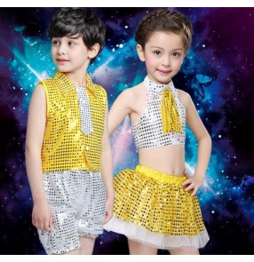Yellow gold silver patchwork girls boys child children sequined jazz dance modern dance stage performance  t show school play dance costumes outfits