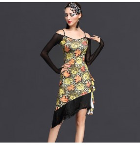 75792cb90 Yellow green coffee floral printed black see through long sleeves dew  shoulder women's female ladies competition
