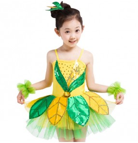 Yellow Green leaves sequins patchwork leaves girls kids children performance jazz modern dance cosplay party dj ds school play singer dancing costumes outfits dresses