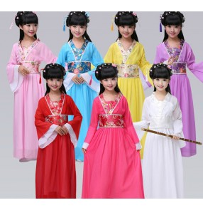 Yellow light pink purple violet red blue turquoise girls kids children baby chinese folk dance style fairy dynasty princess classical ancient stage performance  cos play dance costumes dresses outfits