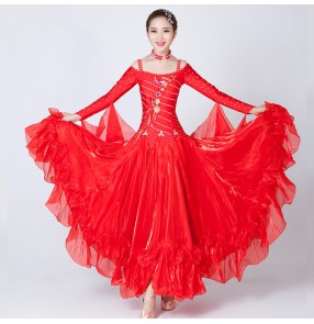 Yellow red royal blue rhinestones women's ladies female dew shoulder long sleeves competition performance long length ballroom tango waltz dance dresses