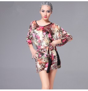Yellow rose floral bat wing loose sleeves women's ladies female velvet competition performance ballroom latin cha cha  dance tops dresses