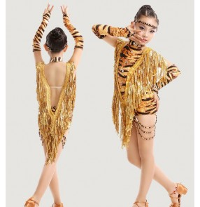 Yellow tiger printed fuchsia hot pink sequins fringes and leopard patchwork girls kids children performance leotards latin salsa cha cha dance dresses outfits