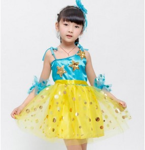 Yellow turquoise patchwork sequined girls kids children flower girls performance school play modern jazz dance dresses outfits