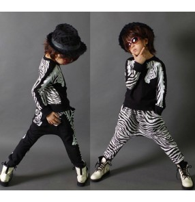 zebra printed black cotton boys kids children school play competition performance modern dance street hip hop dance jazz costumes outfits
