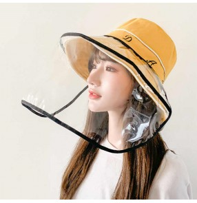 Anti-spray saliva fisherman's cap with clear face shield anti-uv sun protection protective hat  for women