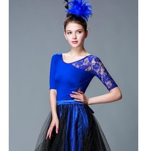 Adult Ballroom Costume Backless lace Sexy Latin dance top for women/female leotard short-sleeve performance wear