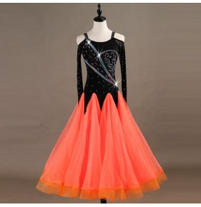 Adult children ballroom dresses professional competition stage performance orange color waltz tango chacha rumba salsa dancing costumes