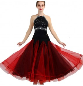 Adult children ballroom dresses wine color long sleeves stage performance competition professional waltz tango dancing long dresses
