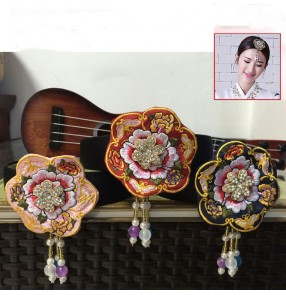 Adult children korean traditional hanbok dresses embroidered flowers headbands Traditional korean costume headdress haid accessories for girls