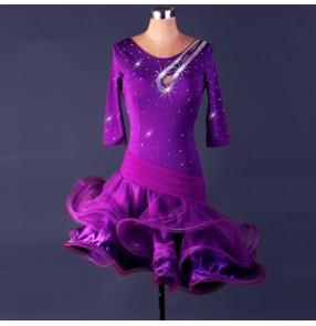 Adult children latin dance dresses for female girls red royal blue pink stage performance rumba samba chacha salsa dance skirt dress