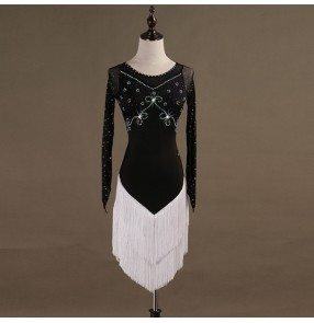 Adult children latin dresses white with black tassels rhinestones competition salsa rumba samba chacha dancing costumes