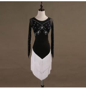 Adult children latin dresses white with black tassels rhinestones competition salsa rumba samba chacha dancing costumes