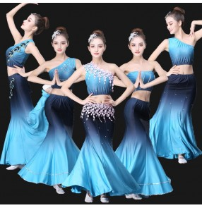 Adult chinese folk peacock dance costumes Dai dance clothes student art examination ethnic stage performance clothes fishtail practice skirt for women