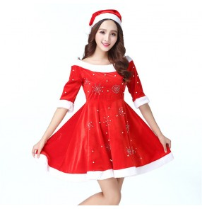 Adult Christmas party performance cosplay costume velvet female Christmas costume cosplay suit carnival suit