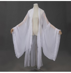 Adult Hanfu Costume large sleeves Coat White Fairy princess cosplay cardigan long cape Chinese Traditional Clothing For Women Classical Dance xmas Folk Dance Wear