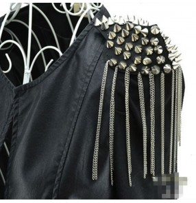 adult kids jazz punk rock pole dance jackets fringed rivet epaulette stage performance leather jacket drama film cosplay model show clothing shoulder accessories armband