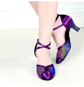 Adult ladies purple latin dance shoes Modern ballroom dancing shoes soft-soled dance shoes for lady 5.5cm heel