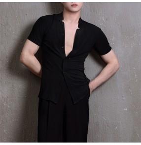 Adult male white black Latin dance tops Men's ballroom latin dance shirt short sleeve exercise clothes for men