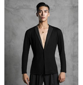 Adult men's black dance shirt lapel collar ballroom dancing tops Latin dance practice cardigan dance shirts