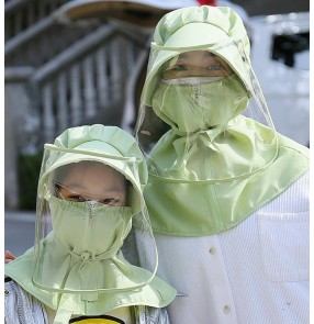 Adult protective sun hat Children's anti-fog mask face mask hat  removable protective cap with Visor protective cap