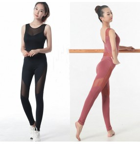 Aerial yoga dance rompers for women one-piece yoga suit women's tight sexy backless one-piece mesh dance jumpsuits catsuits suit