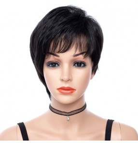 African American Short black Wig Temperature Synthetic Hair Fluffy Wigs Hand Made Top Wig Heat Resistant