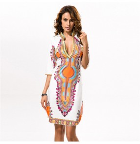 African Dresses for Women Dashiki Printed V-neck Robe Africaine Ladies Clothes Female Dress Party Rich Clothing