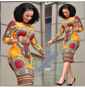 African Dresses for Women Printed Tribal Ethnic Fashion V-neck Ladies Clothes Casual Sexy Dress Robe Party