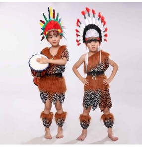 African drum costumes children primitive hunter performance costumes Indian dance costumes toddler savages costumes