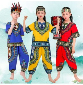African drum performance costumes for boy girls Xmas halloween party Tambourine dance clothes Dai ethnic minority performance costumes for kids