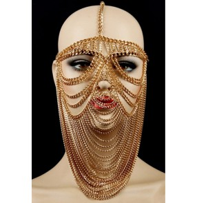 African Tribal Tassel Belly dance Mask Egypt Queen Cosplay photos shooting Accessories Nightclub Bar Female Singer Stage Performance Metal fringed Mask