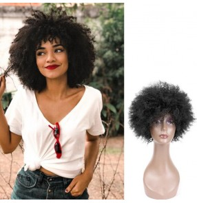 Afro Human hair Wig for Women African Black Color virgin hair Short Wig daily use or cosplay wig