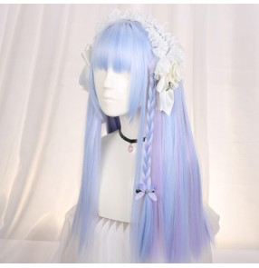 Air bangs lolita style drama cosplay princess hair student princess gradient long straight hair wig