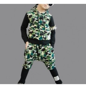 Army green printed pattern patchwork fashion casual boys kids children school competition performance hip hop jazz ds dancing outfits costumes clothes