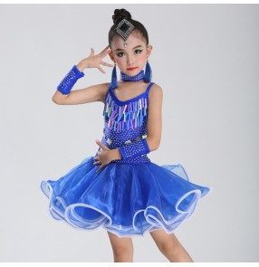 Kids latin dresses competition sequin paillette professional fringes salsa chacha rumba dancing costumes