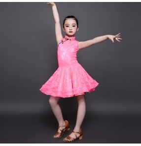 Girls latin dresses kids children white pink lace competition stage performance professional rumba samba chacha dance costumes