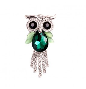 Alloy owl brooches for women and men with diamond and crystal animal owl brooch Corsage
