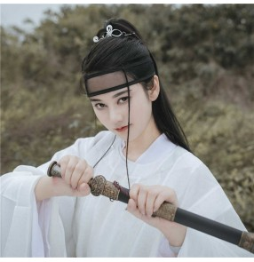ancient Chinese swordsman warrior High Ponytail Wig for Men Hanfu Film Television drama cosplay Straight hair extension clip-grab male female knight COS