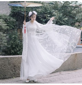 Ancient chinese traditional Hanfu white fairy princess cosplay dress for female han tang qing express stage performance gown birthday gift photos video shooting clothes