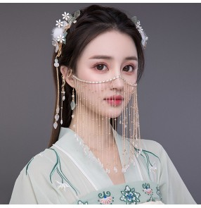 Ancient Hanfu fairy princess cosplay headdress with pearl fringe veil feather hairpin and earrings Han Tang princess photos shooting jewelry for women