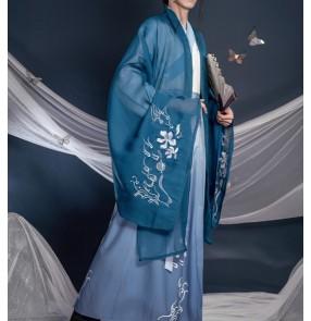 Ancient traditional Hanfu for men blue green color Chinese folk costume han ming tang dynasty prince swordsman warrior cosplay robe scholar Xianqi Big Sleeve Shirt clothing