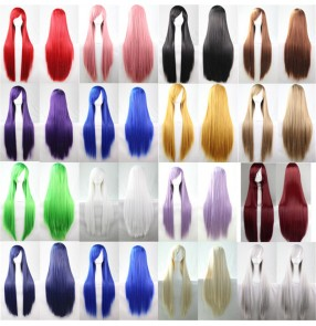 Anime drama cos wig for women men multi color long straight hair banquet stage performance model show film movies cosplay wig 80cm