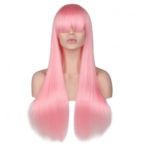 Anime drama cosplay long straight wig with bangs for pink girl party or daily use heat synthetic fiber