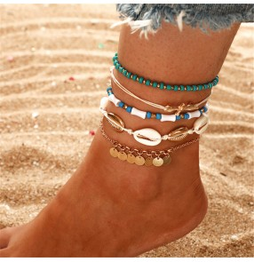 Anklet European and American Bohemian Geometric Disc Beaded Shell Braided 6-piece anklet