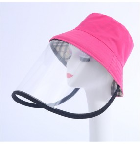 Anti-saliva fisherman hat with face shield for kids adult full face protect mask dust proof sunscreen bucket cap